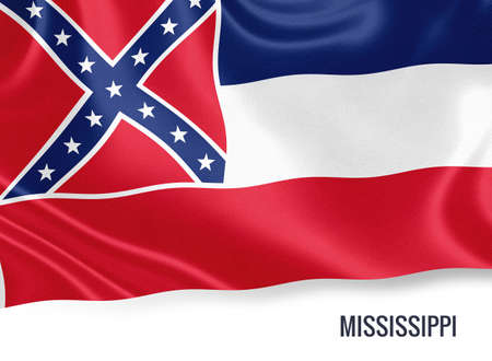 U.S. state Mississippi flag waving on an isolated white background. State name included below the artwork. Stock Photo