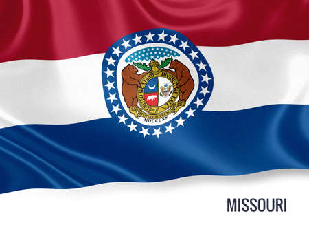jefferson: U.S. state Missouri flag waving on an isolated white background. State name included below the artwork.