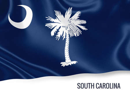 U.S. state South Carolina flag waving isolated on white. State name included below the artwork.