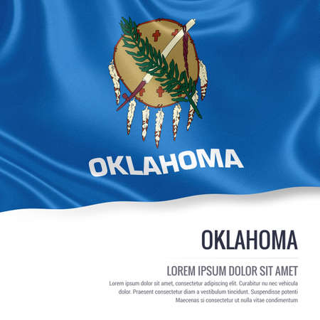 oklahoma: Flag of U.S. state Oklahoma waving isolated on white. State name and the text area for your message.