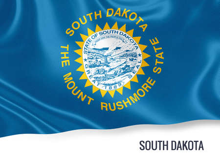 U.S. state South Dakota flag waving isolated on white. State name included below the artwork.