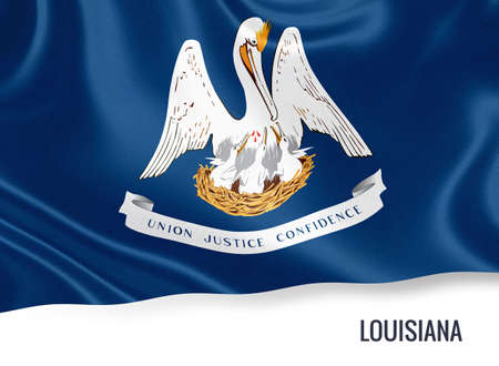 baton rouge: U.S. state Louisiana flag waving on an isolated white background. State name included below the artwork.
