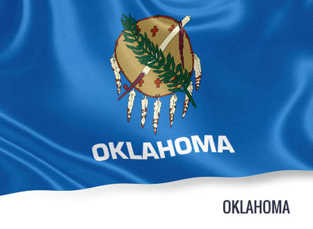 U.S. state Oklahoma flag waving on an isolated white. State name included below the artwork.