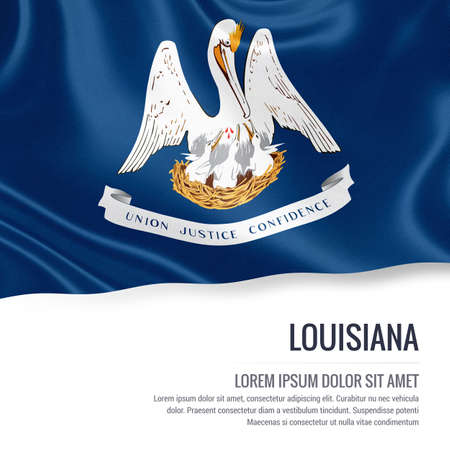baton rouge: Flag of U.S. state Louisiana waving on an isolated white background. State name and the text area for your message.
