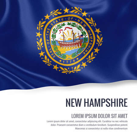 concord: Flag of U.S. state New Hampshire waving on an isolated white background. State name and the text area for your message. Stock Photo