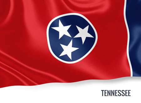 U.S. state Tennessee flag waving on an isolated white background. State name included below the artwork.