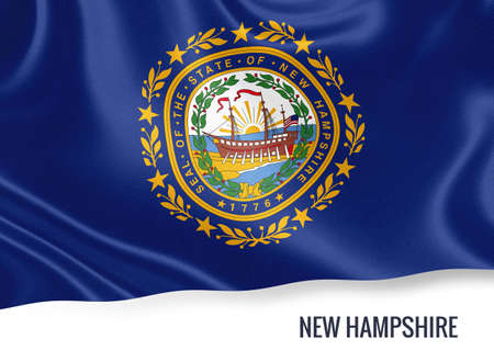 concord: U.S. state New Hampshire flag waving on an isolated white background. State name included below the artwork.