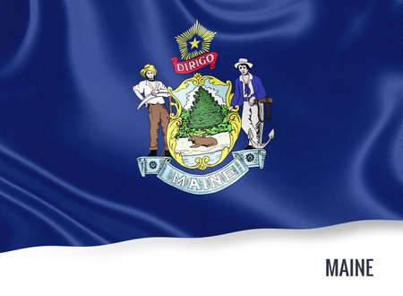 U.S. state Maine flag waving on an isolated white background. State name included below the artwork. Stock Photo