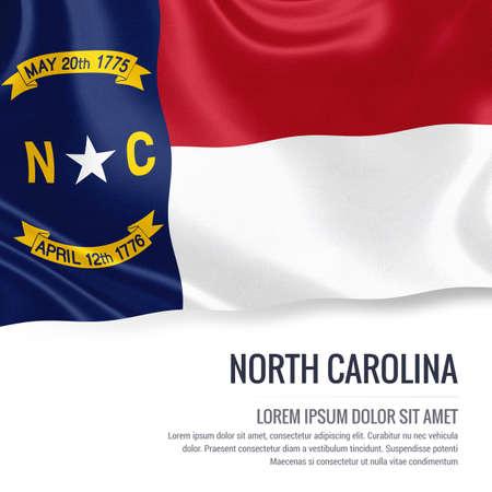 米国の旗は、ノース ・ カロライナ州分離ホワイト バック グラウンドに手を振る状態します。状態の名前とメッセージのテキスト領域。 写真素材
