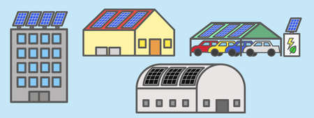 Some examples of solar rooftop installation Illustration