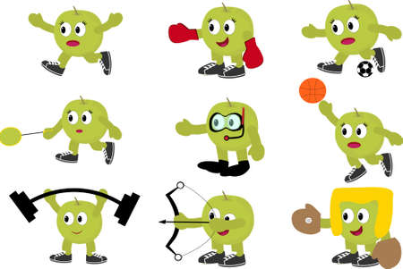 fruit character set can use for: – DIY printing for your poster – Sticker – Icon – card  – T-Shirt Printing – Apparel needed – Invitation Card Element – And all the think Vectores