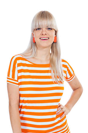 beautiful bangs: Beautiful smiling blond girl with bangs isolated on white background