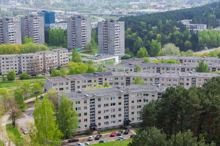 disctrict: Panoramic view of Lazdynai disctrict in Vilnius Lithuania Stock Photo