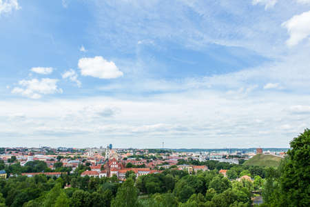 disctrict: Panoramic view on Vilnius old town and surrounding trees