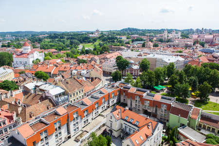 disctrict: Panoramic view on red roofs of Vilnius old town in Lithuania Stock Photo