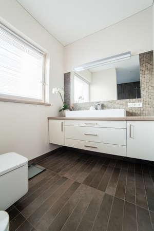 Inside of a modern bathroom