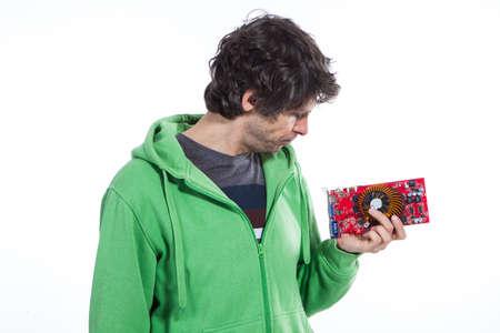 graphic card: Man hold scheda grafica del computer