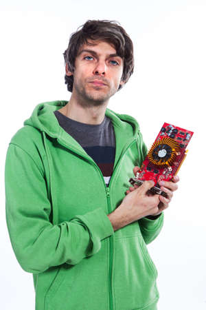 Man hold computer graphic card photo