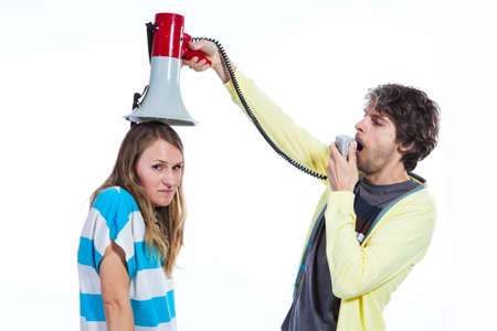 Man using megaphone to talk to a wife