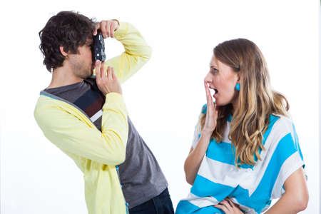 Young couple taking their portraits Stock Photo