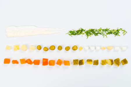 Lines of different food on the white table