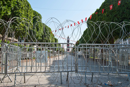 riots: Tunis central square with barbed wire