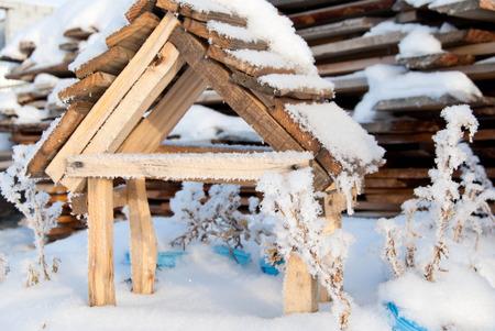 Wooden feeder for birds in winter snow Stock Photo