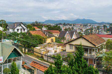 lat: Roofs of Da Lat mountain city view, Vietnam