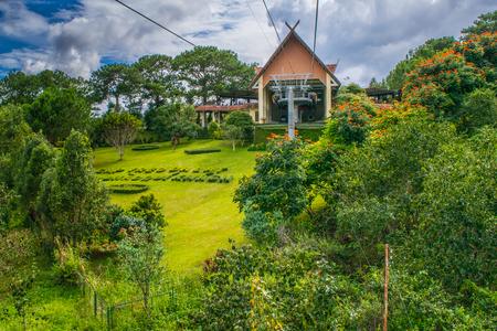 Beautiful lush gardening cable car station in mountains Dalat Vietnam