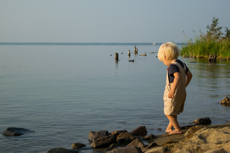 Shore of Lake with baby playing with sand, Uveldy (Uveldy), the Urals