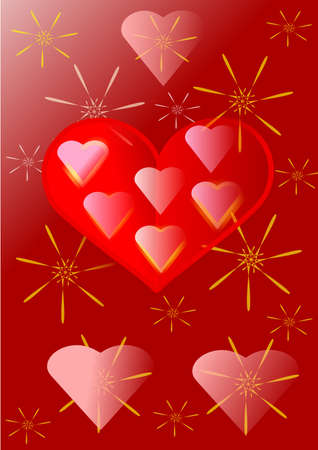 Two half of heart with small hearts, yellow star on brown background Stock Photo - 13549186