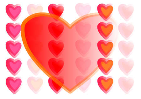 Large transparent red heart with large quantity of arrange small of hearts on white background