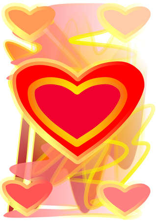 Colourful hearts on painter background and on white background Stock Photo - 13549184