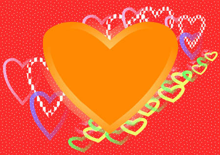 Large orange heart and much colourful contours of hearts on red background into white dots. Stock Photo - 13859620