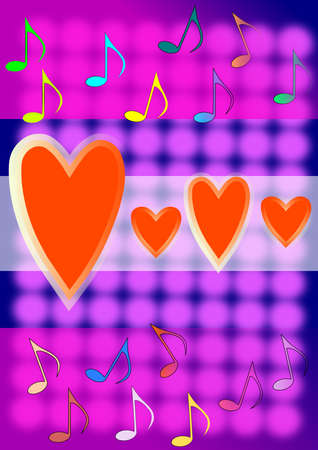 navy blue background: Colourful notes, red hearts on transparent wide streaks. Navy blue background with purple circles. Stock Photo