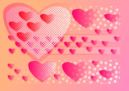Large patterned heart with small hearts. Wide streaks  with hearts, dots and  patterns on orange and pink background. Stock Photo