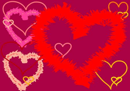 claret: Contours of hearts on claret background, jerk contour.