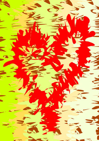 Fray contour of heart on colourful, patterned background.