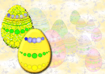 Colourful Easter eggs on patterned background