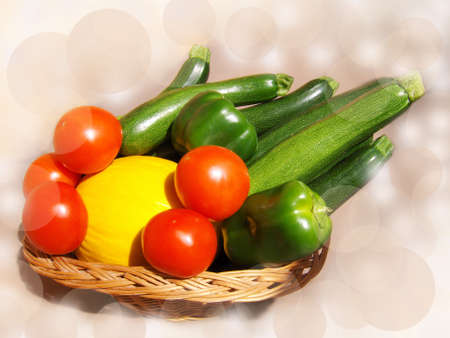 Vegetables  in basket, tomatoes, melon, zucchini on background of circles, white spots.