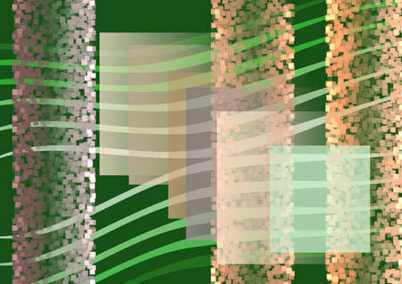 Composition on dark green background, green lines, colourful small and large squares