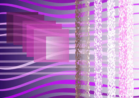 Composition on violet background, transparent lines , squares, light, shadow  Stock Photo