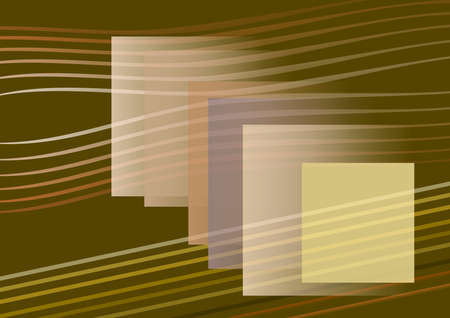 Composition on brown background, colourful squares, brown and yellow lines, light, shadow