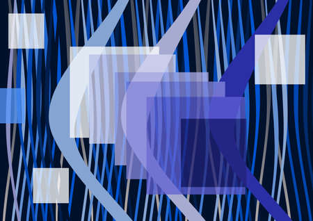 Composition on navy blue background, transparent squares, colourful lines, light, shadow