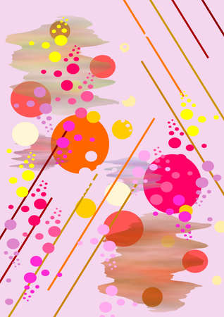 Composition  on bright pink background from large and small  circles  and lines, flecks