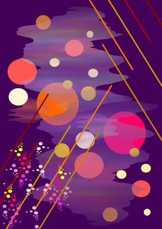 Composition on dark violet background, transparent flecks, lines , large and small circles, light, shadow
