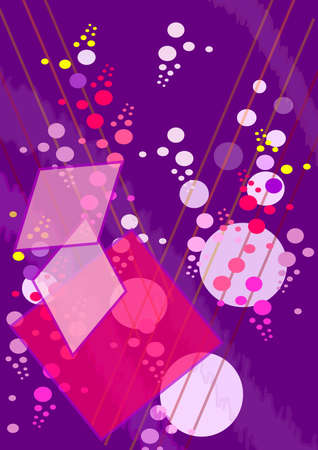 Composition on  violet background, transparent flecks, lines , large and small circles, squares, rhombus