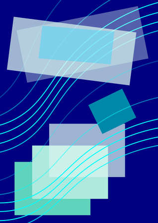 Composition on  navy blue background, green and blue lines, colourful small and large squares and  rectangles