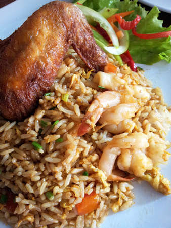 Fried Rice with chicken wing, shrimp and Vegetable  photo