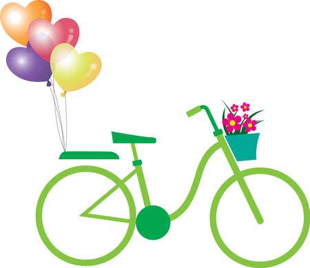 fahrradrennen: Gr�nes Fahrrad Illustration